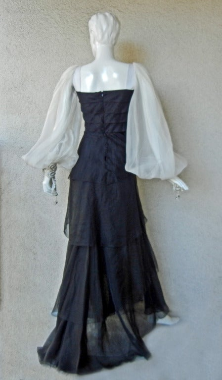 Valentino Beautiful Black & White Beaded Silk Organza Gown 4