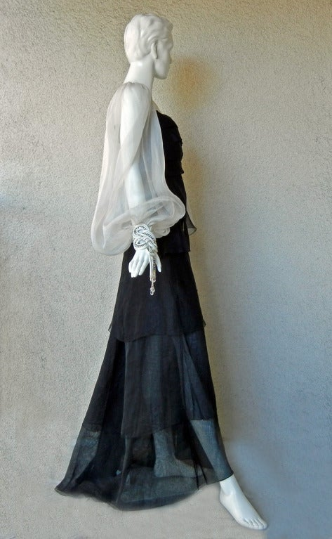 Valentino Beautiful Black & White Beaded Silk Organza Gown 5