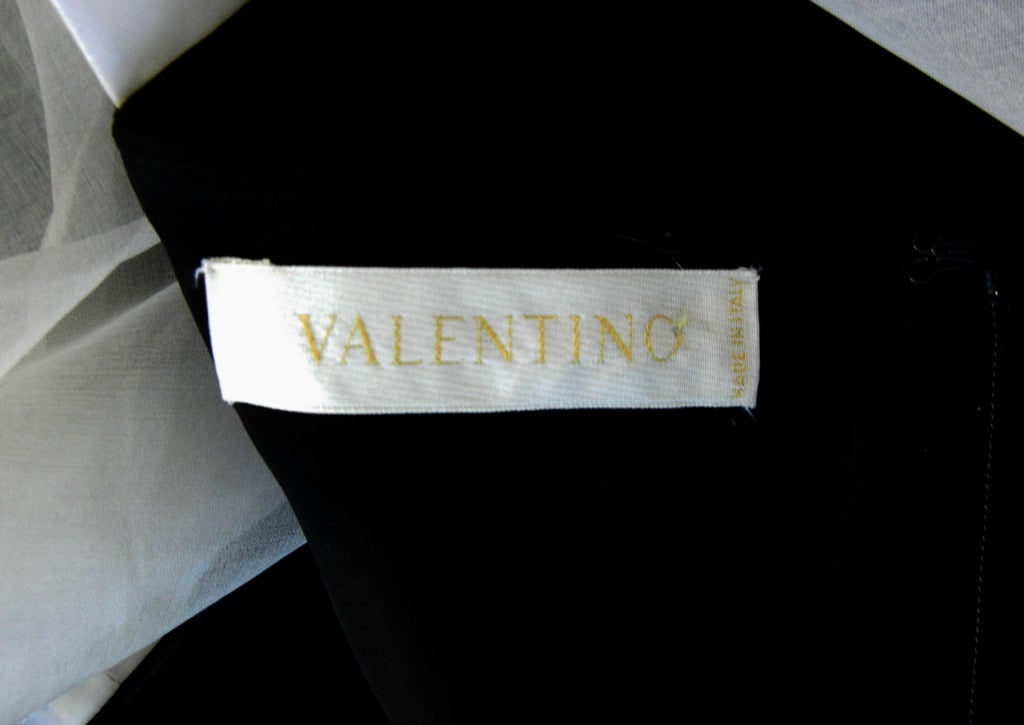 Valentino Beautiful Black & White Beaded Silk Organza Gown 6