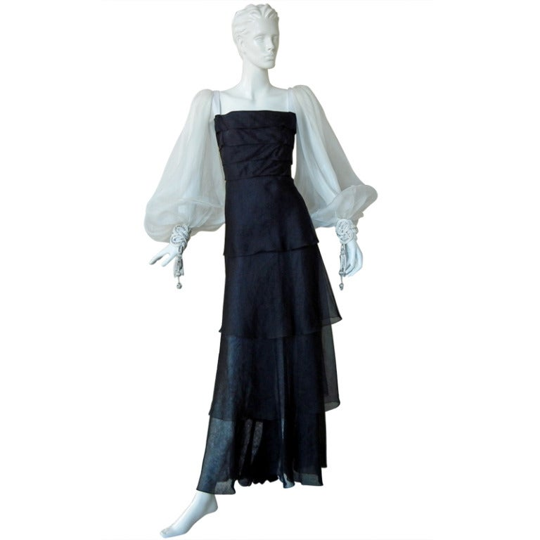 Valentino Beautiful Black & White Beaded Silk Organza Gown 1