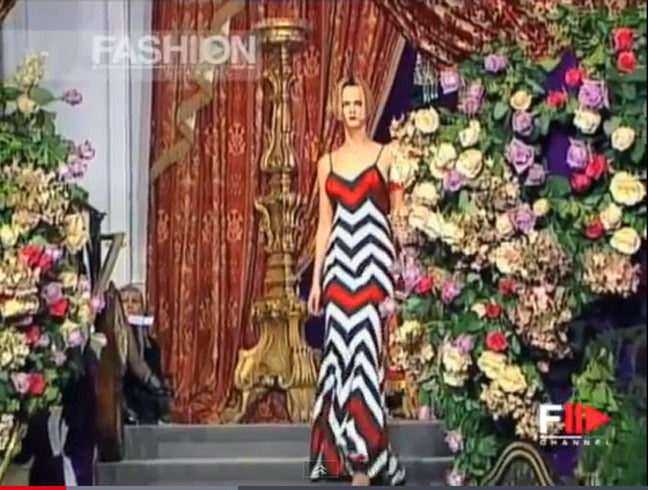 Circa 1999 John Galliano for House of Dior inspired from a little known rare 1950's collection by Christian Dior.  Gown fashioned of black white and red chevron stripe bias cut spaghetti strap design. Also includes matching wrap. The gown fashioned