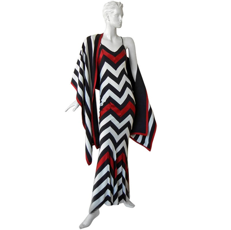 Christian Dior Chevron Pattern Evening Ensemble Inspired by 1950 Dior Collection