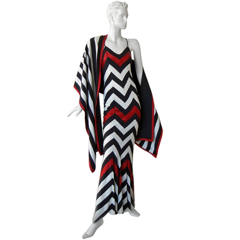 Christian Dior Chevron Pattern Evening Ensemble Inspired by 1950 Dior Collection For Sale