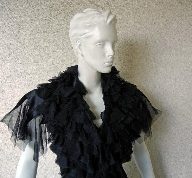 """Black Alexander Queen 2001 """"What a Merry Go Round"""" Spiral Zipper Ruffle Evening Dress For Sale"""