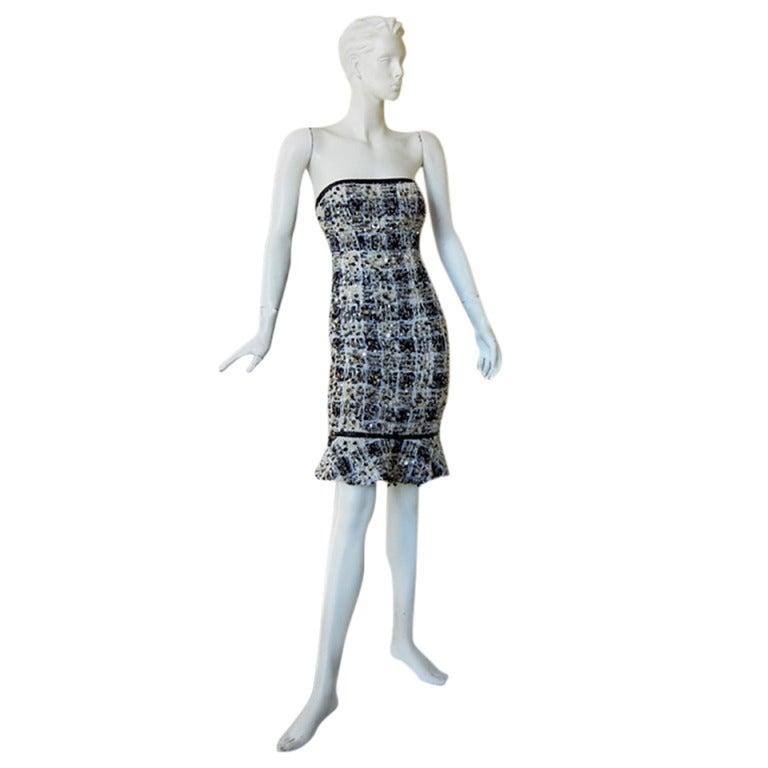Rare Donna Karan Chanelesque Beaded Boucle Eyelash Dress 1