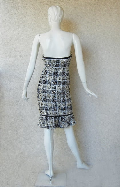 Rare Donna Karan Chanelesque Beaded Boucle Eyelash Dress 4