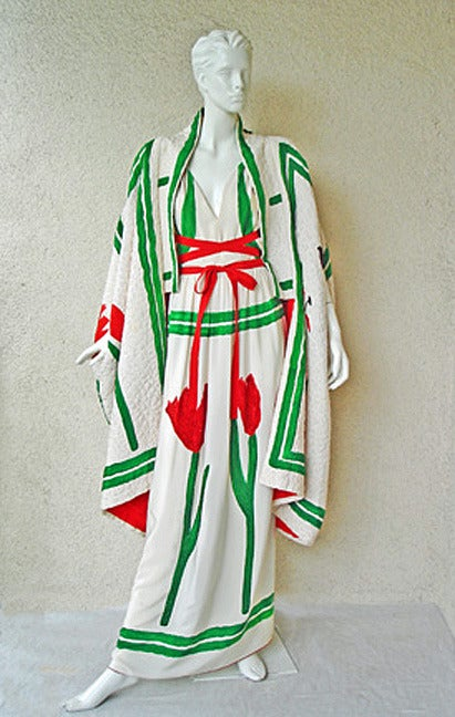Women's  Rare Michaele Vollbrach Haute Couture Hand Painted Halter Dress & Kimono Coat For Sale