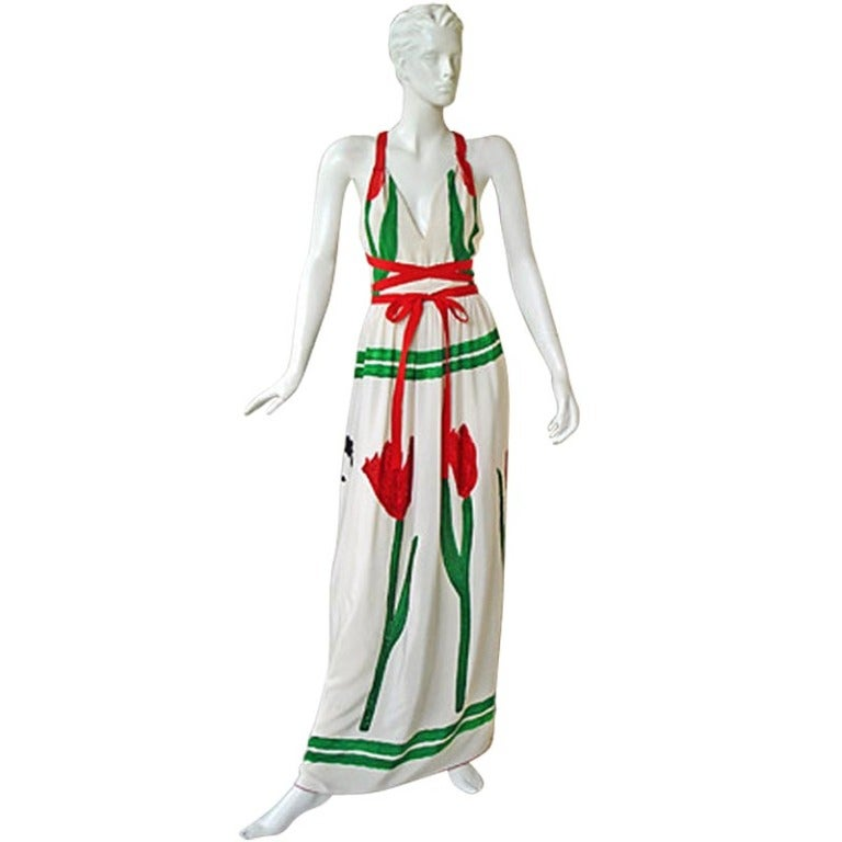 Rare Michaele Vollbrach Haute Couture Hand Painted Halter Dress & Kimono Coat For Sale