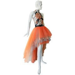 Valentino Branch Coral Shell Beaded Hi Low Tulle Evening Dress Gown
