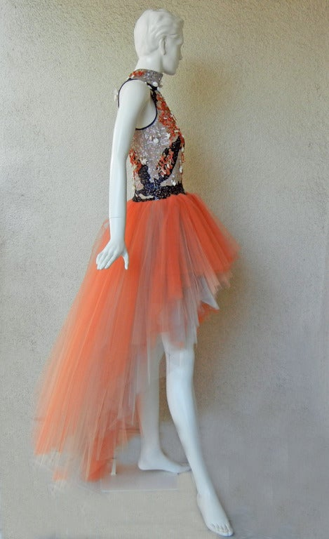 Valentino Branch Coral Shell Beaded Hi Low Tulle Evening Dress Gown 5
