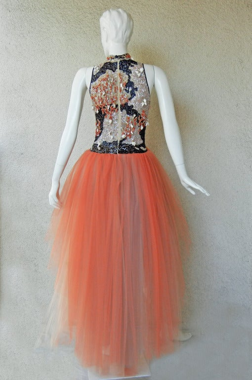 Valentino Branch Coral Shell Beaded Hi Low Tulle Evening Dress Gown 6