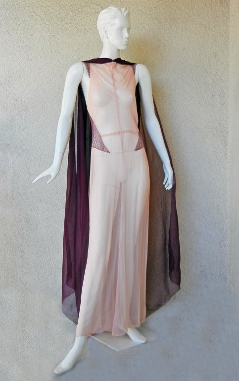 Gray  Maggy Rouff  1930's Diaphaneous Beaded Dress, Gown & Cape in Magazine For Sale