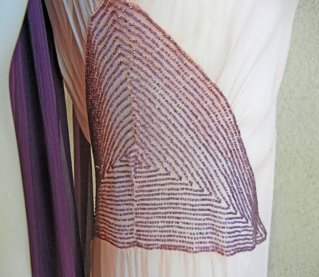Maggy Rouff  1930's Diaphaneous Beaded Dress, Gown & Cape in Magazine In Excellent Condition For Sale In Los Angeles, CA