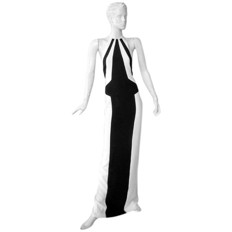 L'Wren Scott Bold Black White Color Block Geometric Pattern Halter Gown  New! For Sale