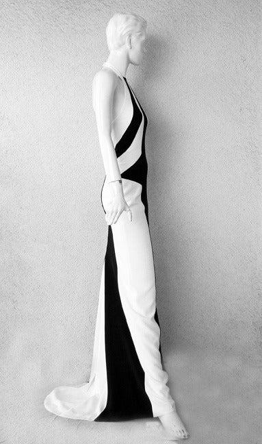 Gray L'Wren Scott Bold Black White Color Block Geometric Pattern Halter Gown  New! For Sale
