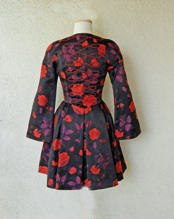 Christian Lacroix Floral Silk Broacade Evening Coat Dress In Excellent Condition For Sale In Los Angeles, CA