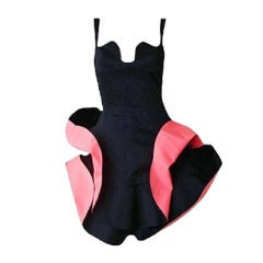 Thierry Mugler rare early Black w/ Coral Inserts Petal Dress