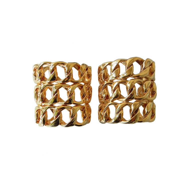 Chanel Pair Oversized Chain Link Cuff Bracelets at 1stdibs