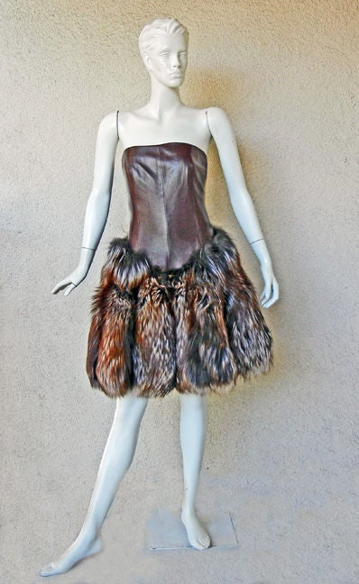 NWT ALEXANDER MCQUEEN DECADENT LEATHER & FUR DRESS image 3
