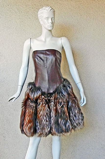 NWT ALEXANDER MCQUEEN DECADENT LEATHER & FUR DRESS image 4