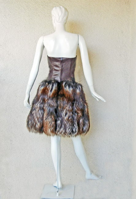 NWT ALEXANDER MCQUEEN DECADENT LEATHER & FUR DRESS image 6