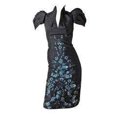 Alexander McQueen 2009 Structural Form Fitting Floral Print Dress