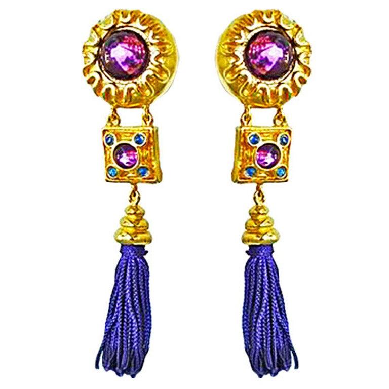 Escada Shldr Duster Earrings Worn by Supermodel Yasmeen Ghauri 1