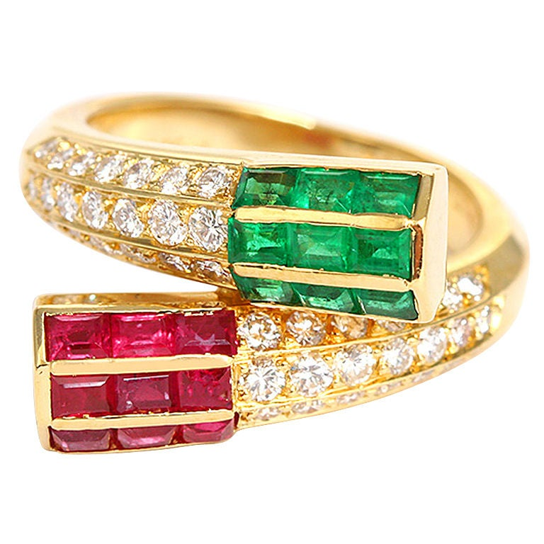 amazing designer fred ruby and emerald ring at