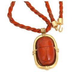 Jaspar Scarab Gold Pendant Necklace on Cord