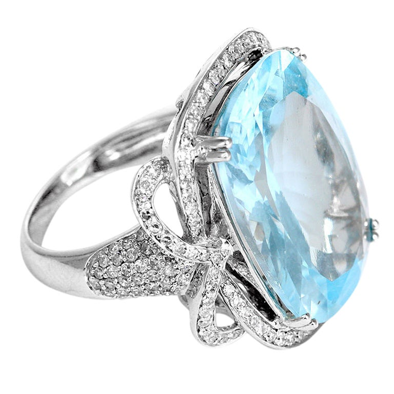 amazing 26 carat blue topaz and diamond ring at 1stdibs