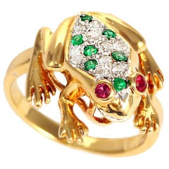 Stunning Yellow Gold Diamond, Ruby, and Emerald Frog Ring