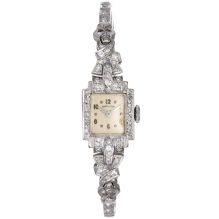 HAMILTON Diamond and White Gold Ladies Dress Watch at 1stdibs