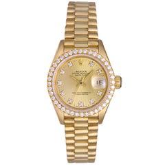 Rolex President Ladies Yellow Gold Diamond Watch 69178