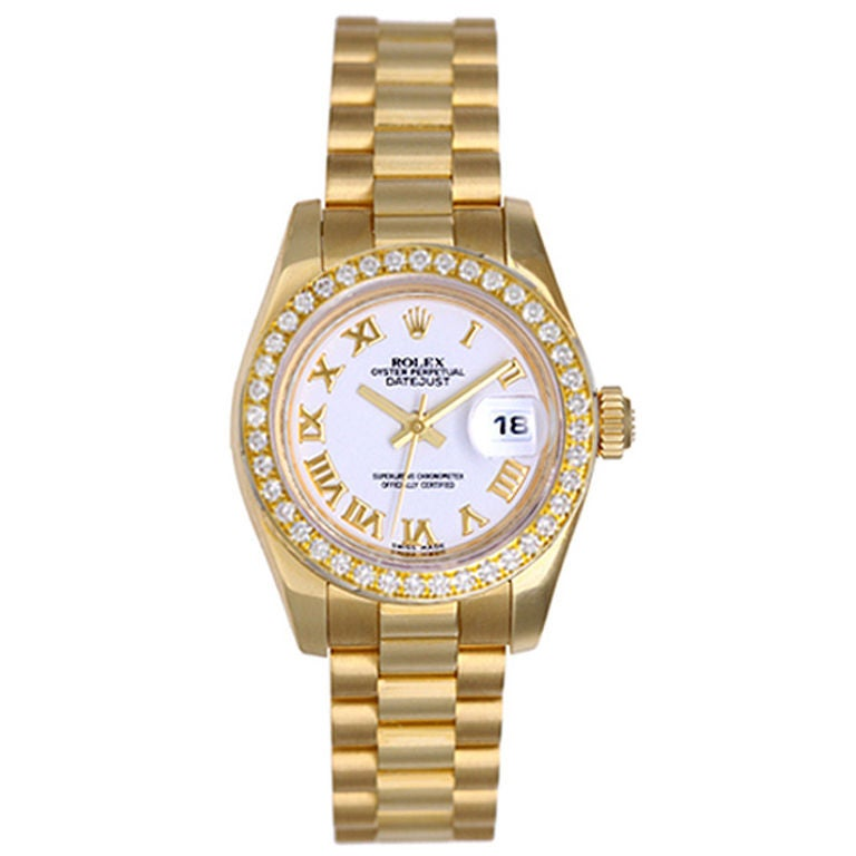 Rolex Ladies President Gold Watch 179178 White Roman Dial