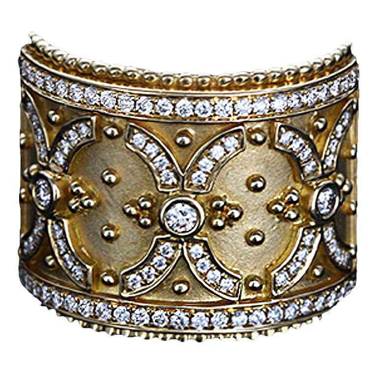Stunning Yellow Gold and Diamond Classic Band Ring 1