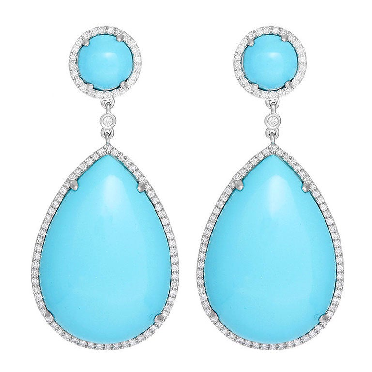 Amazing Turquoise Diamond Teardrop Dangle Earrings At 1stdibs