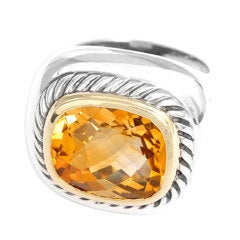 DAVID YURMAN Citrine Sterling Silver 'Albion' Collection Ring