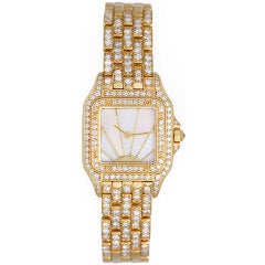 CARTIER Ladies Panther Pave Diamond Yellow Gold Watch