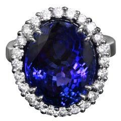 Stunning 14 carat  BlueTanzanite Ring Surrounded by Diamonds