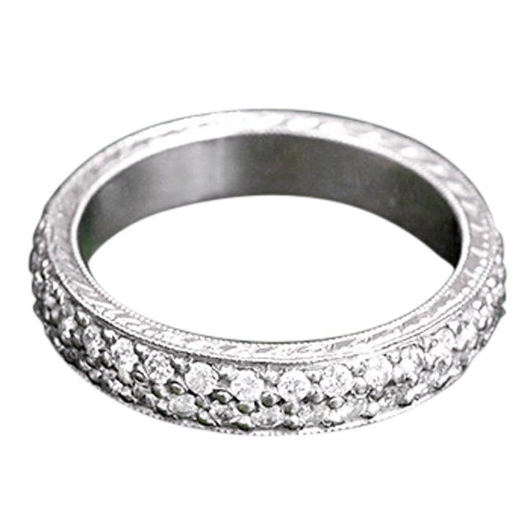 Amazing custom made platinum pave diamond wedding band for What is platinum jewelry made of