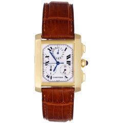CARTIER Yellow Gold Tank Francaise Chronograph Wristwatch