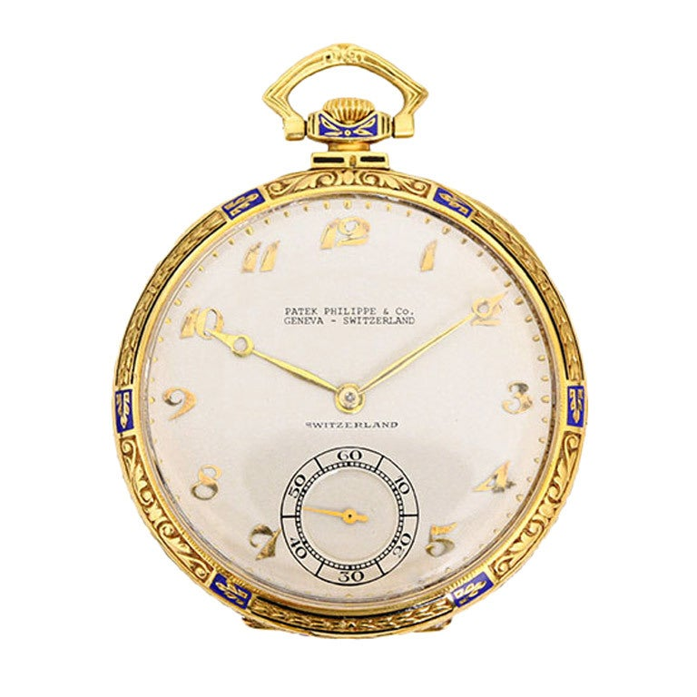 patek philippe yellow gold and enamel pocket at