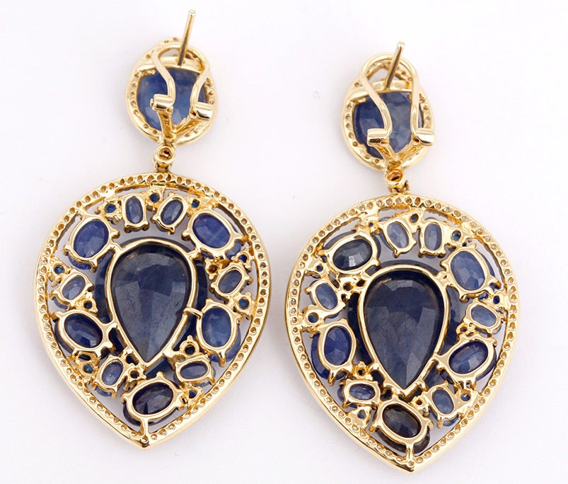 Stunning Large Teardrop Sapphire, Diamond & Yellow Gold Earrings 2