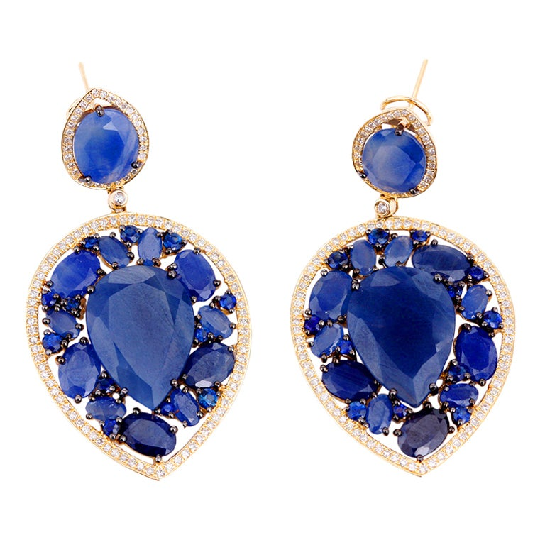 Stunning Large Teardrop Sapphire, Diamond & Yellow Gold Earrings 1