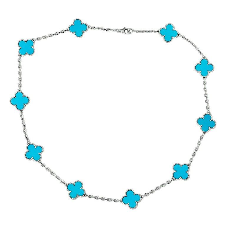 Clover Necklace Van Cleef: Van Cleef And Arpels Turquoise White Gold Clover 10-Motif