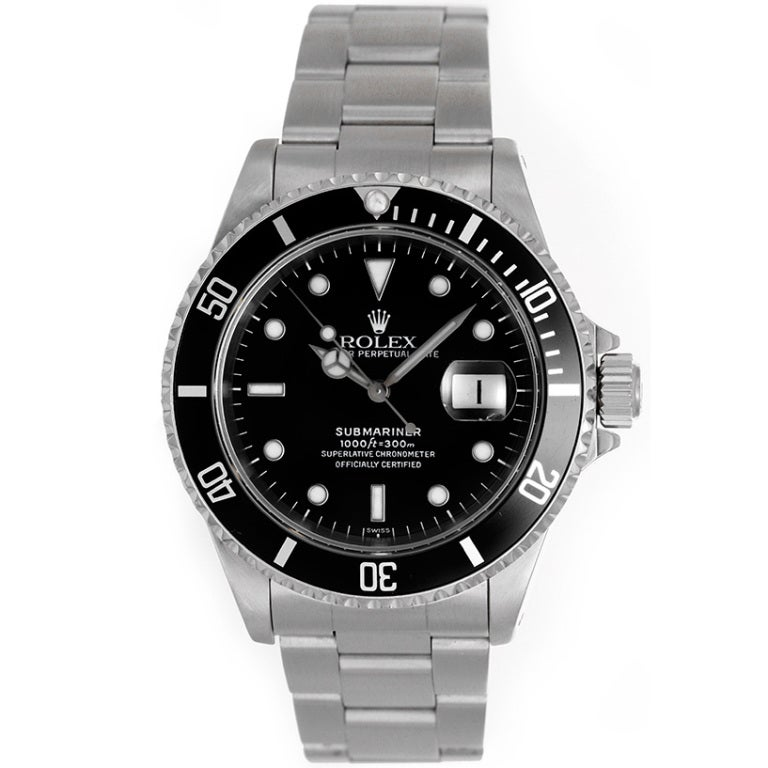 Rolex Stainless Steel Submariner Diver's Wristwatch Ref 16610 circa 1990s For Sale