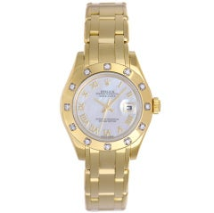 Rolex Lady's Yellow Gold Datejust Pearlmaster Wristwatch