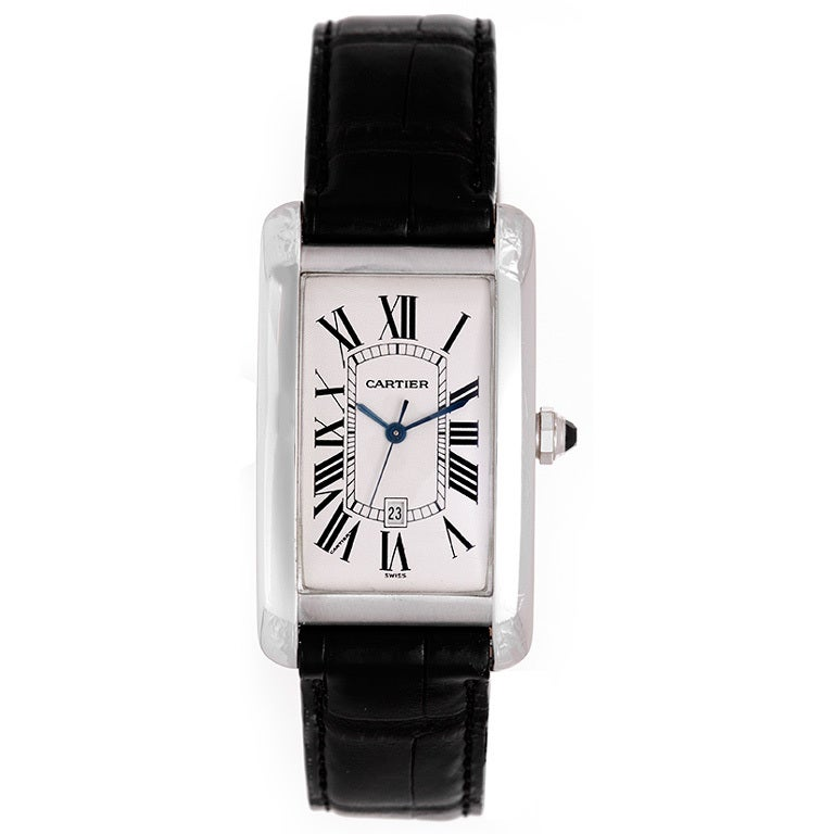 Cartier White Gold Tank Americaine Wristwatch with Date 1