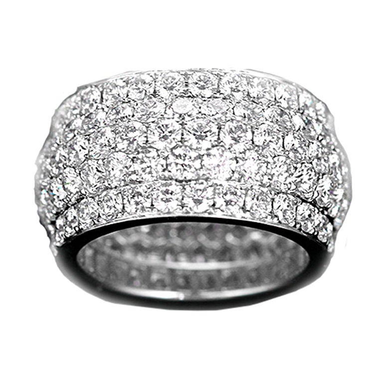 stunning white gold pave wide band ring