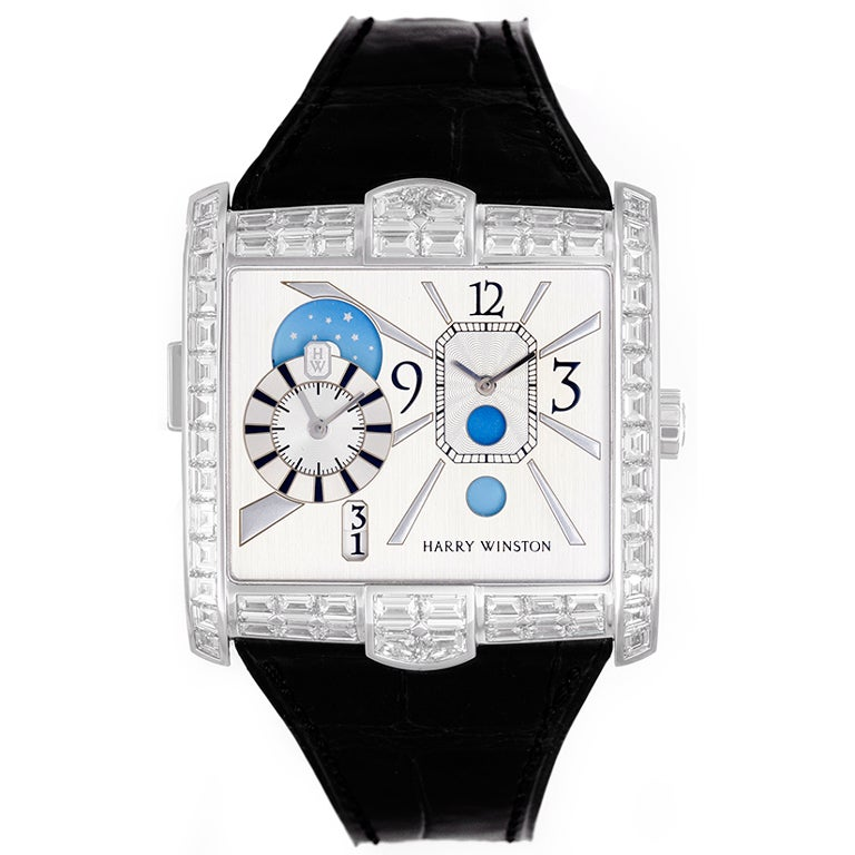 Harry Winston White Gold Diamond Avenue Squared A2 Dual Time At 1stdibs